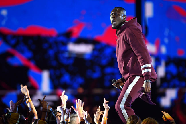 Stormzy performs 'Big For Your Boots' at the 2017 MTV EMAs in London, England