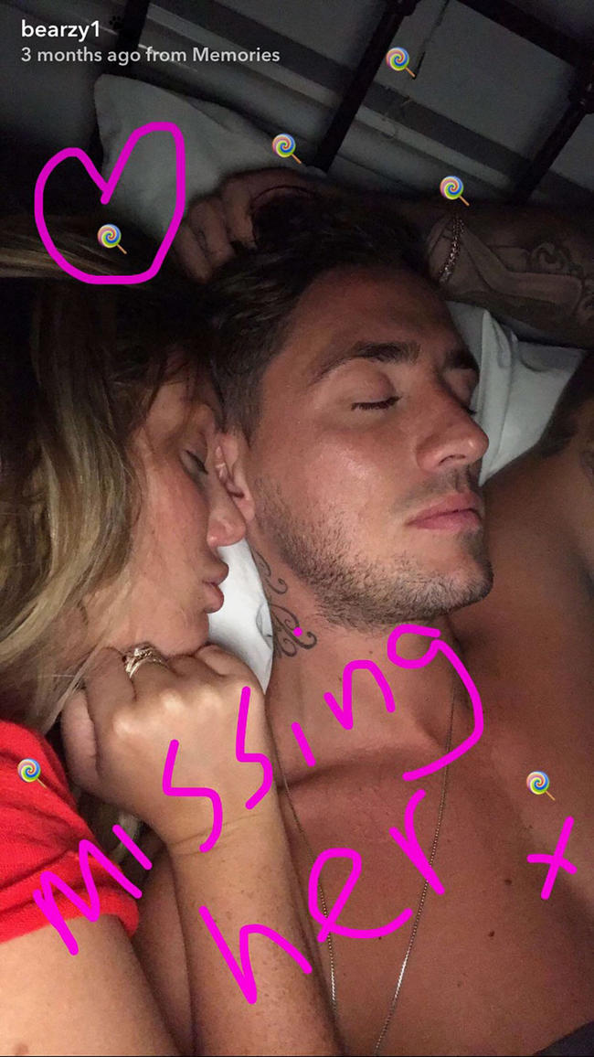Stephen Bear shares an image of Charlotte Crosby in bed and says he misses her