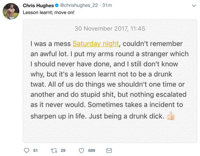 Chris Hughes apologises after pictures emerge of him and mystery woman