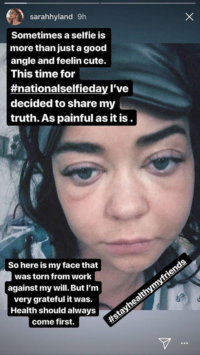 Sarah Hyland shares an honest selfie of herself in the hospital
