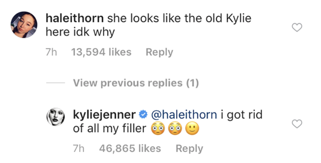 Kylie Jenner reveals to fan on Instagram that she's dissolved all her lip fillers