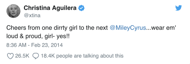 Christina Aguilera supported Miley Cyrus being inspired by her Dirrty look