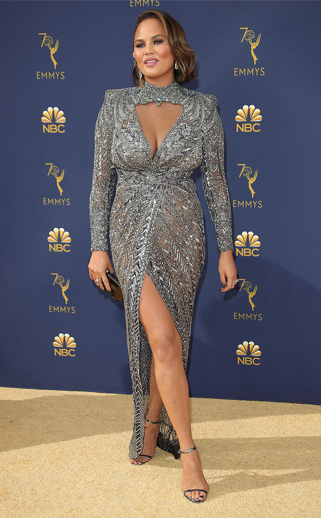 Chrissy Teigen attends the EMMYs in September 2018 with husband John Legend
