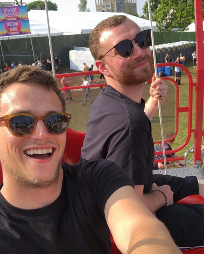 Sam Smith and 13 Reasons Why actor Brandon Flynn during their relationship in 2017-2018
