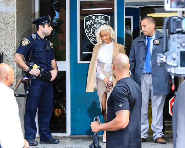 Cardi B leaves a New York police station