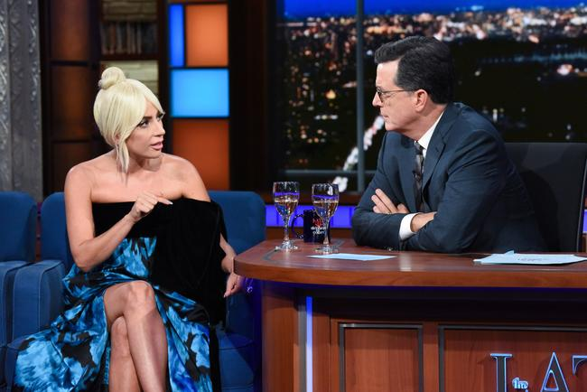 The Late Show with Stephen Colbert and guest Lady Gaga during Thursday's October 4, 2018 show.