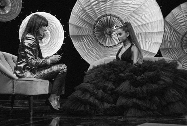 Ariana Grande interviewed by host Davina McCall for Ariana Grande at the BBC live special aired on BBC One in November 2018 and filmed in September 2018