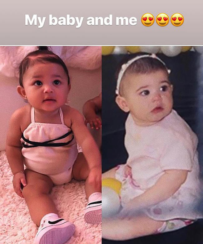 Kylie Jenner shares side by side comparison with baby Stormi