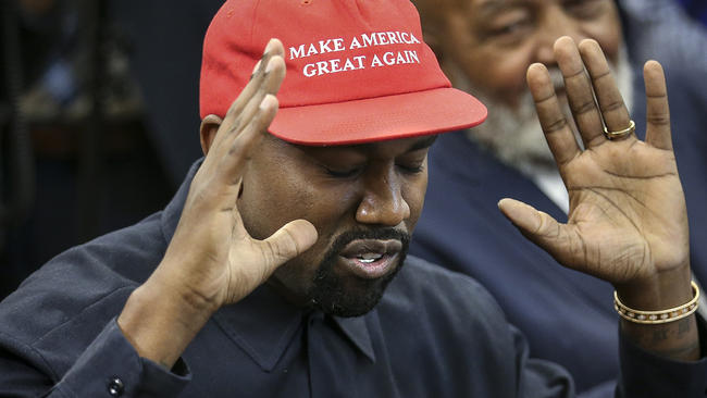 Kanye West wears MAGA hat while meeting President Trump