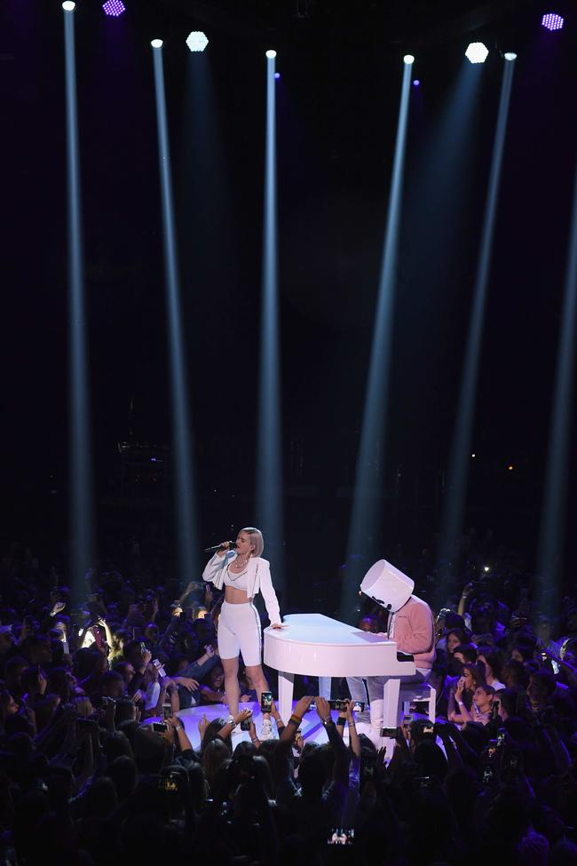 Marshmello, Bastille and Anne-Marie performing at the 2018 MTV Europe Music Awards