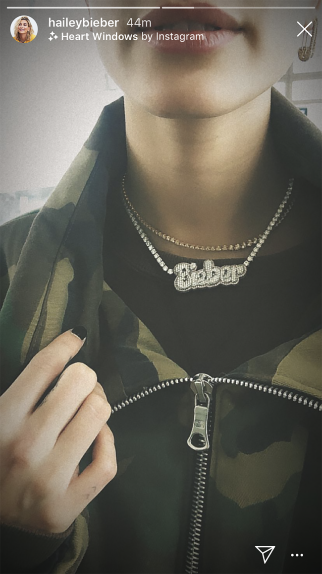 Hailey Baldwin shows off new last name with Bieber diamond necklace