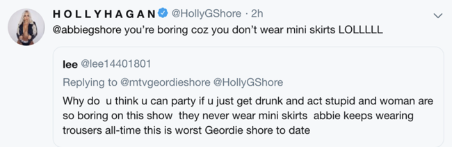 Holly Hagan hits back at troll who criticised how Geordie Shore cast dress