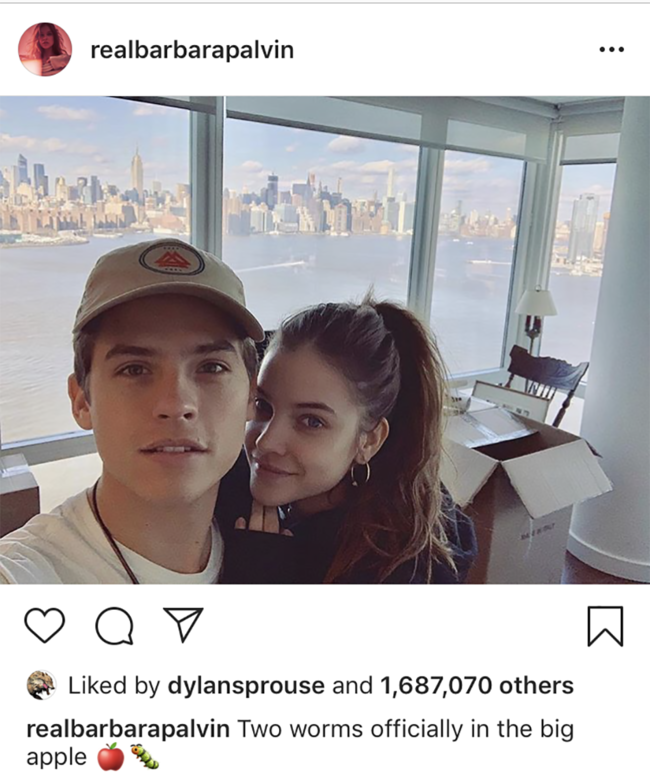 Dylan Sprouse and Barbara Palvin have moved into a New York apartment