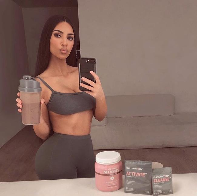 Kim Kardashian promoting Flat Tummy meal replacement shakes on Instagram in 2019