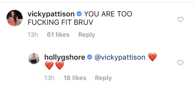 Vicky Pattison left the best comment on this pic of Holly Hagan