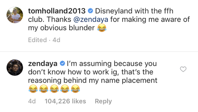 Zendaya calls out Tom Holland after NSFW post sparks dating rumours